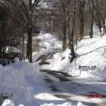 Strada villaggio con la neve